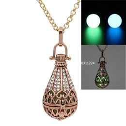Red Copper Hollow Waterdrop Crystal Box Pendant Locket Necklace Fragrance Essential Oil Diffuser Jewelry