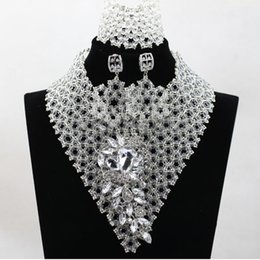 new african items Necklaces Earrings Bracelets Sets Ladies Party Wedding Jewelry set white silver jewellery matching wedding crowns