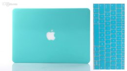 Coque macbook 13 à vendre-Water Blue Solid Rubberiz Matte Hard Case Cover Shell Peau de clavier en silicone gratuite pour Macbook Air Pro Retina 11 12 13 15 Pouces