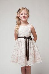 Wholesale 2017 Little Girls Birthday Princess Dresses Ribbon Belt Flower Lace Girls Dresses Children s Vintage Dress For Events Kids Clothing MC0284