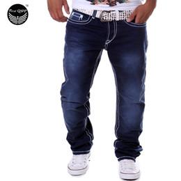 Wholesale-Men Jeans 2016 Long Jeans Homme Pantalones Hombre Leisure Gradient Color Men Pants Double Pocket Jeans Pants QWEOMVXZV