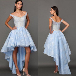 2017 High Low Sky Blue Prom Dresses Off Shoulders Backless Lace Aso Ebi Graduation Dresses Arabic Style Party Homecoming Gowns