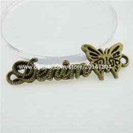 Wholesale 12703 Antique Vintage Bronze Tone Word Letter Denim Butterfly Connector