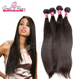 Greatremy® Grade 7a Natural Black Raw Indian Temple Hair Weave Unprocessed Human Indian Hair Straight 4 bundles lot Hot Sale