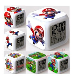 48 Design Hot item Cute LED Alarm Electric Clock despertador Mario Super Game Cartoon Character Kid Toy Girl Children Gift