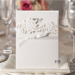 White Personalized Custom Printing Laser Cut Hollow Wedding Invitations Cards Flower with Ribbons Free Envelopes, Seals Wedding Supplies