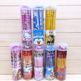 Sistemas de la pluma de madera en venta-Cartoon Frozen Pony Stationery Set Estudiantes 36 lápiz de madera niños regalo con la regla de la regla de contener de la pluma Venta al por mayor