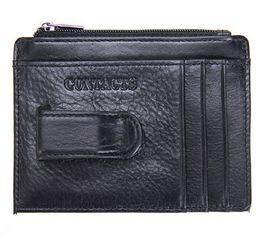 Wholesale Unisex Men Women Genuine Leather Black Mini Cards Holder Cowhide Simple Bank Credit Cards Clip Car Set Coin Purse