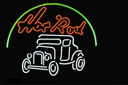 Wholesale NEON SIGN HOT ROD HOTRODS LOGO AUTO CAR DEALER Custom Store Display Beer Bar Pub Club Lights Signs Shop Decorate Real Glass Tube Bulbs
