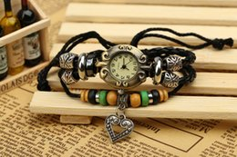 Wholesale 2017 new factory direct new beaded bracelet PU leather bracelet watch retro table
