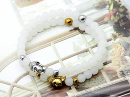 Wholesale 12pcs Beaded White Stone Beads Buddha Bracelets Gold And Silver Color Really Fine Cheap Jewelry