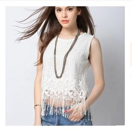 Wholesale The new summer women s clothing fashion in Europe and the tassel coat sleeveless hollow out small lace crochet render emotion comes bac