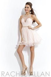 Wholesale 2014 Blush Graduation Party Dresses Sheer Neckline Backless Babydoll Tulle with gold embellishments Beaded Sash homecoming Gown