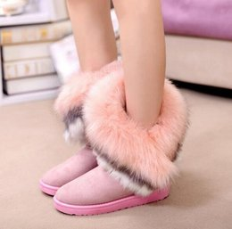 Wholesale 2016 new fashion winter snow boots large wool export imitation fox fur boots shoes women boots F018