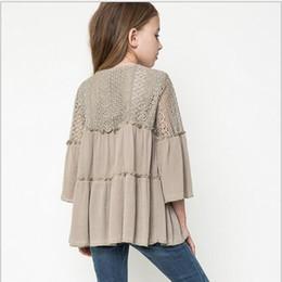 Wholesale Nation Style Junior Crochet Lace Tassel Shirts Teenager Fashion Ruffle Blouse Big Baby Girl Autumn Flare Sleeve Christmas Tops