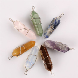 Wholesale 2pcs Assorted Pendants For Necklace Earring Point Stone Silver Plated Wire Wrapped Pendulum Chakra Healing Reiki Beads Fashion Jewerly