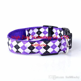 Wholesale Diamond shape printed led dog pets collar for dogs safety collar necklace cat flashing led dog collar