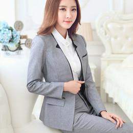 Wholesale New Fashion Long sleeve women s blazer pants set grey black business work wear formal uniform female OL office suits with