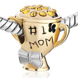 No. 1 Mom Award Cup bead Mother's Day European charm Fit For Pandora Biagi Charm Bracelet