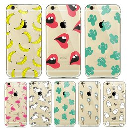 Wholesale New Summer Fruit Banana Unicorn Transparent Soft TPU Clear Case for iPhone s Plus S SE C Cactus Lips Flamingo