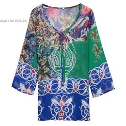 2016 fashion new arrival Women Ladies V-Neck Long Sleeve Multi-colors Loose Mini Bikini Cover-up Beach Casual Mini Chiffon Dress SV030255