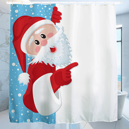 Wholesale Waterproof Christmas Naughty Santa Polyester Shower Curtain Bath Bathing Sheer Curtain for Home Decoration Store School Decorative