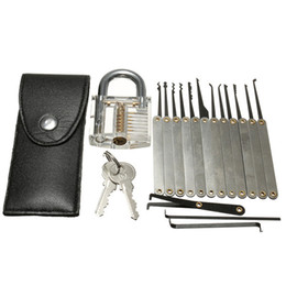 Wholesale 16pcs Training Lock Pick Set Locksmith Practice Tools With Transparent Cutaway for Opener Unlock Door
