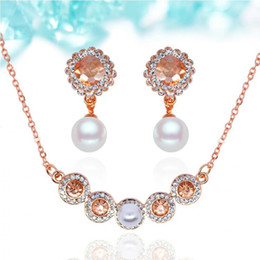 18KGP Zircon Necklace Earrings Jewelry Sets Fashion Zircon and Pearl Crystal Jewelry Set For Women Fine Jewelry Sets 2016051-030