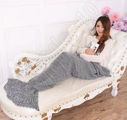 Wholesale 2016 New Adults Gray Super Soft Hand Crocheted cartoon Mermaid Tail Blanket Sofa Blanket air condition blanket siesta blanket X85cm