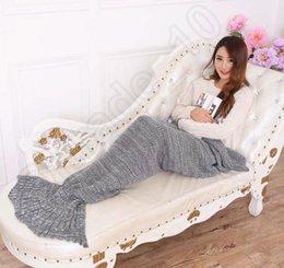 Wholesale 2016 New Adults Gray Super Soft Hand Crocheted cartoon Mermaid Tail Blanket Sofa Blanket air condition blanket siesta blanket X85cm