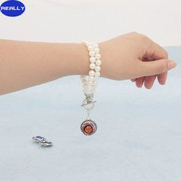 REALLY Noosa Chunk Button Bracelets White Imitation Pearl Two Layers Bracelets Interchangeable Snap Charm Jewelry Free Shipping