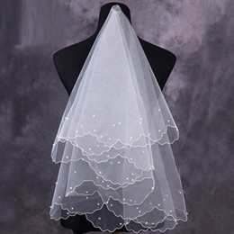 Wholesale Only Cheap Bridal Veils Pearls Handmade Elbow Length White Ivory Fashion Wedding Accessories In Stock
