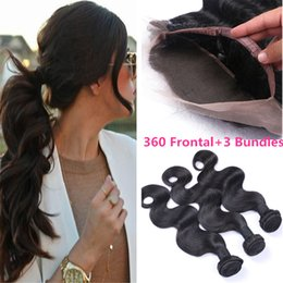 Wholesale Brazilian Hair Body Wave Lace Frontal Closure With Bundles Body Wave Brazilian Hair With Lace Band Frontal