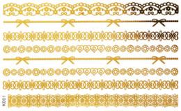 Mode Tatouages temporaires en or de 5 feuilles Populaires en Europe Tatouages en métal Tatouages Tatouages en métal à partir de feuille de métal arts fabricateur