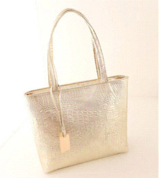 Fashion Women PU Leather Handbags Metal Color Shoulder Bags Alligator Pattern Tote Bag Golden Silver Black Bags For Ladies