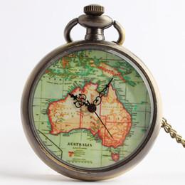 Mujer del reloj del collar en Línea-Antiguos collares del reloj de bolsillo colgante de Australia mapa con joyas relojes reloj de bolsillo de la cadena medallón de cuarzo en moda mujer regalo de Navidad 230197
