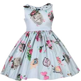 Wholesale New Arrival Girls Beaded Doll Collar Summer Dresses Children Sleeveless Flower Princess Dresses Kids Fashion New Pleated Dobby Dress