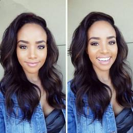 Promotion 18 black hair Pas cher Brésilien de Vierge Corps Cheveux Vague Glueless Full Lace humain Perruques Cheveux ondulés perruque avant de lacet pour les femmes noires avec bébé cheveux