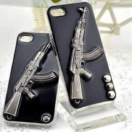 Wholesale Cool D Metal Guns Hard PC Back Cover Case For iphone s s plus Stereoscopic Gel Pistol Weapons Protective Phone Case