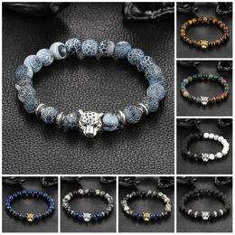 Charm Bracelets Wholesale Fashion woman man plating gold silver chain bracelet crystal lava stone skeletons Tiger Eye Jewelry Bead Bracelet