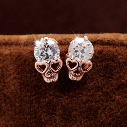 Wholesale New Fashion Vintage Stud Earrings CZ Diamond K Gold Plated Skull Stud Earrings Jewelry