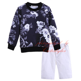 Wholesale Best Selling Cutestyles Boy Ink Painting Printing Clothing Set Full Sleeves Sweatshirt And Pants Kids Suits O Neck Collar Tops CS90312 L