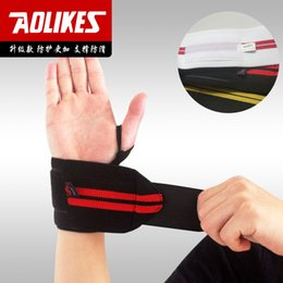 Wholesale Aolikes Weight Lifting Sports Wristband Gym Wrist Thumb Support Straps Wraps Bandage Fitness Training Safety Hand Bands wrist brace