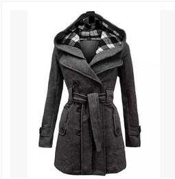 Wholesale S XL Ladies Long Winter Hooded Jackets Coat For Women Coats woman coat wool thick wool winter coats