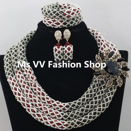 african jewelry sets Red Black Crystal Women Necklace Bridal Nigerian Wedding African Beads jewelry sets for aso ebi dress gele headtie