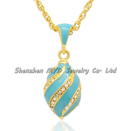 Stylish women jewelry high quality necklace colorful enameled crystal swirl girls Russian style Faberge egg pendants for ladies