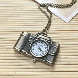 Wholesale Halloween Christmas Party Gift Brand New Bronze Quartz Antique Camera Vine Pocket Watches with Key Chain Sweater Necklace