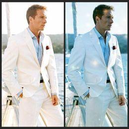 Wholesale 2017 White Linen Blazer Custom Made Linen Suit Sharp Look Tailored Groom Suit Bespoke Mens Linen Suits For Wedding Tuxedos