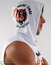 Wholesale Tiger Muay Thai black sleeveles hooded wicking quick drying elastic needle a fitness MMA muay thai boxing sweatshirt boxing bad boy mma jaco