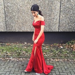 2016 Cheap Gorgeous Dar Red Evening Dresses Sweep Train Long Mermaid Split Off the Shoulder Burgundy Formal Bridesmaid Prom Dress Party Gown